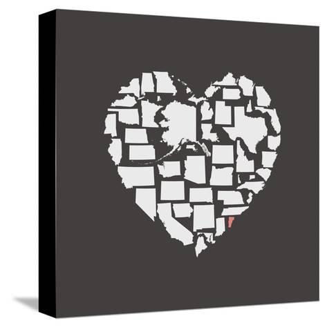 Black USA Heart Graphic Print Featuring Vermont-Kindred Sol Collective-Stretched Canvas Print