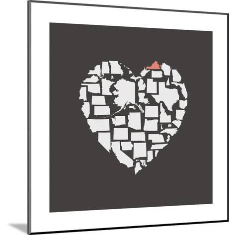 Black USA Heart Graphic Print Featuring Virginia-Kindred Sol Collective-Mounted Art Print