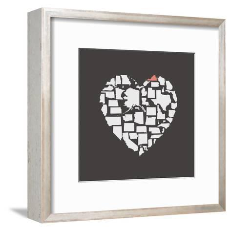 Black USA Heart Graphic Print Featuring Virginia-Kindred Sol Collective-Framed Art Print