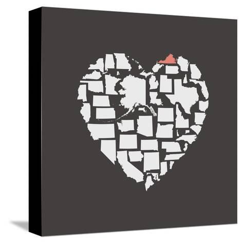 Black USA Heart Graphic Print Featuring Virginia-Kindred Sol Collective-Stretched Canvas Print