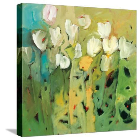 White tulips II-Jennifer Harwood-Stretched Canvas Print