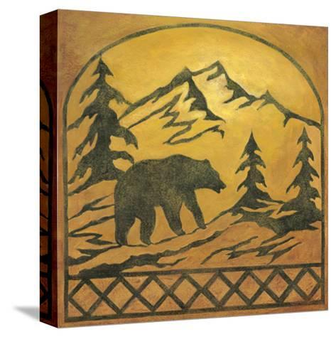 Lodge Bear Silhouette-Chariklia Zarris-Stretched Canvas Print
