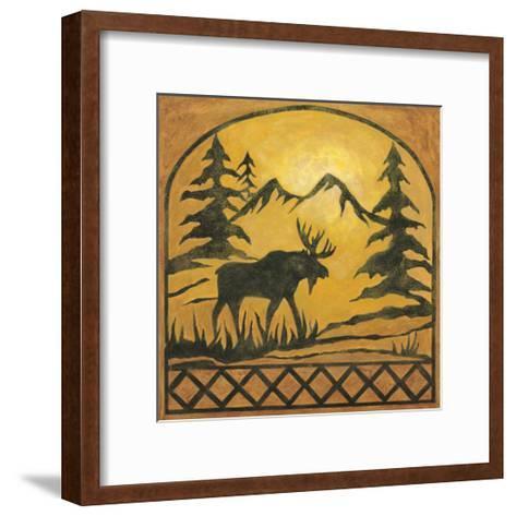 Lodge Moose Silhouette-Chariklia Zarris-Framed Art Print