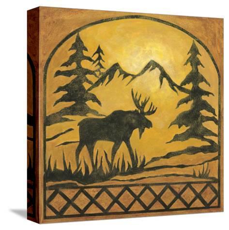 Lodge Moose Silhouette-Chariklia Zarris-Stretched Canvas Print