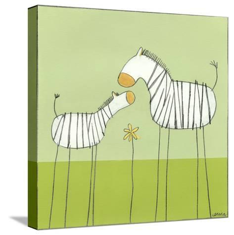 Stick-leg Zebra II-June Erica Vess-Stretched Canvas Print