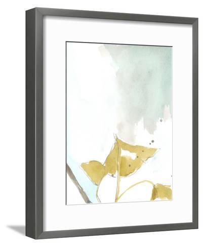 Ginkgo on Dusty Teal III-Jennifer Goldberger-Framed Art Print