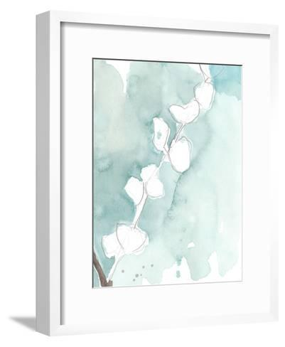 Ginkgo on Dusty Teal V-Jennifer Goldberger-Framed Art Print