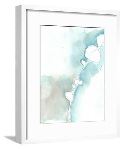 Ginkgo on Dusty Teal VII-Jennifer Goldberger-Framed Art Print