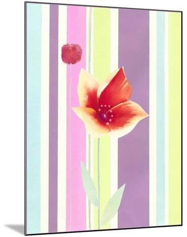 Flowers & Stripes IV-Vision Studio-Mounted Art Print