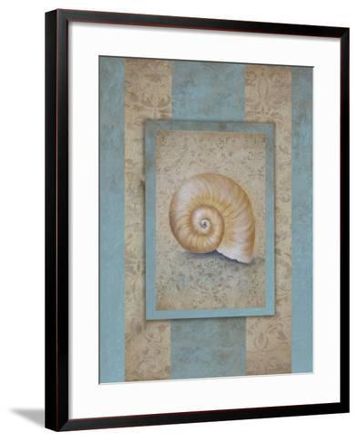 Shell & Damask Stripe I-Rita Broughton-Framed Art Print