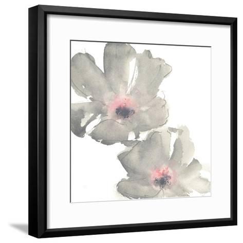 Gray Blush Cosmos I on White-Chris Paschke-Framed Art Print