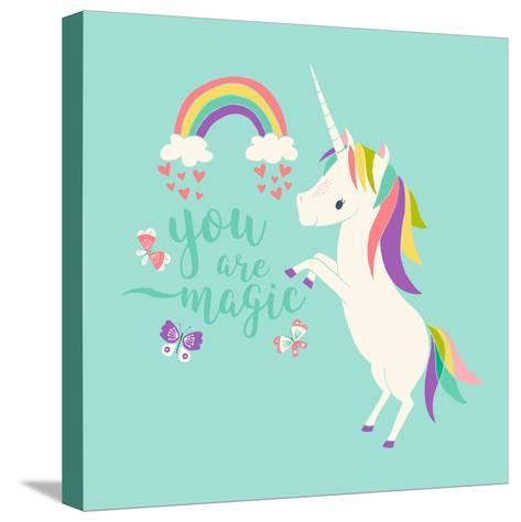 You are Magic - Rainbow and Unicorn-Heather Rosas-Stretched Canvas Print