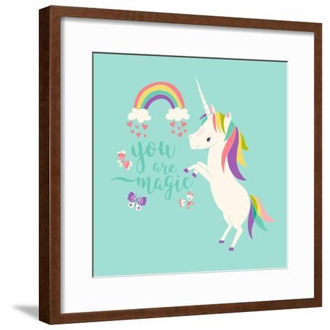 You are Magic - Rainbow and Unicorn-Heather Rosas-Framed Art Print
