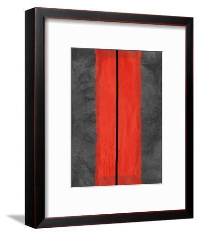 Grey and Red Abstract 5-NaxArt-Framed Art Print