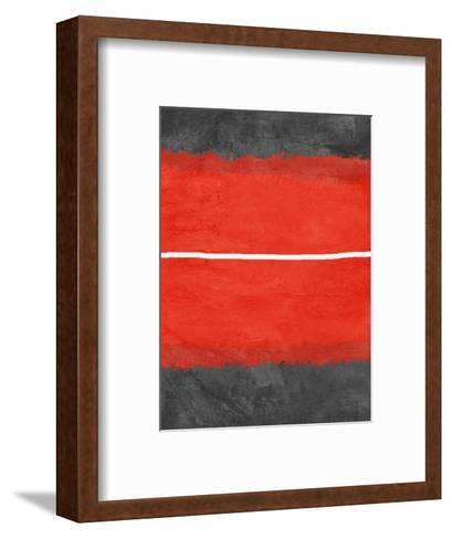 Grey and Red Abstract 2-NaxArt-Framed Art Print