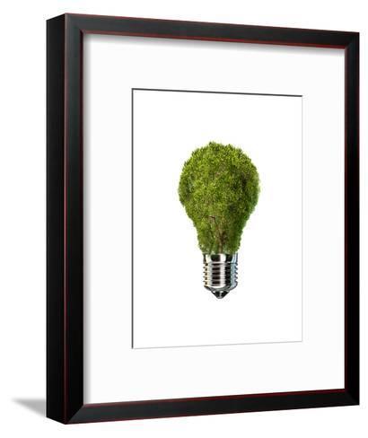 Light Bulb with Tree Inside Glass, Isolated on White Background--Framed Art Print
