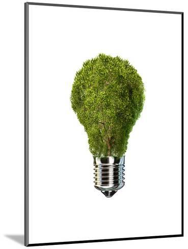 Light Bulb with Tree Inside Glass, Isolated on White Background--Mounted Art Print