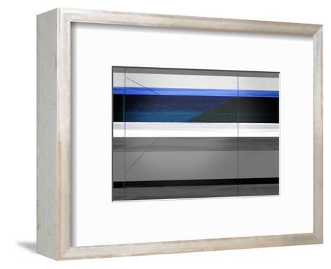 Abstract Grey and Blue-NaxArt-Framed Art Print