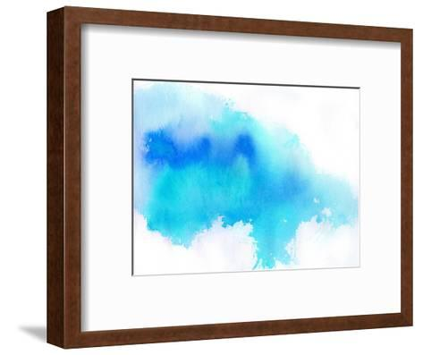 Blue Spot, Watercolor Abstract Hand Painted Background-katritch-Framed Art Print