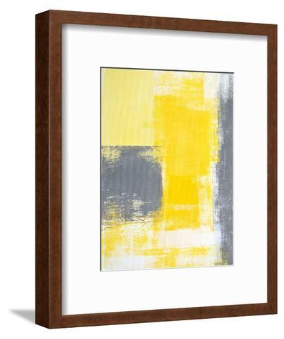 Grey And Yellow Abstract Art Painting-T30Gallery-Framed Art Print