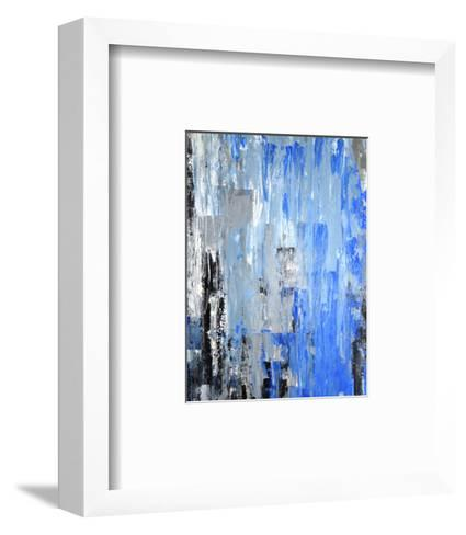 Blue And Grey Abstract Art Painting-T30Gallery-Framed Art Print