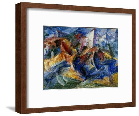 Horse and Rider and Buildings, 1914-Umberto Boccioni-Framed Art Print