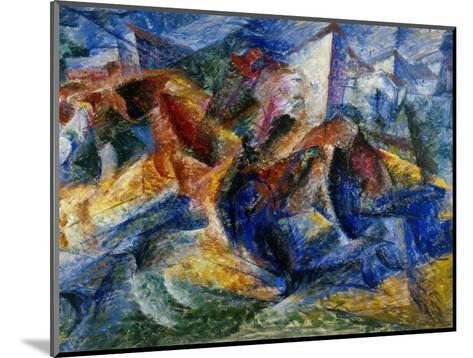 Horse and Rider and Buildings, 1914-Umberto Boccioni-Mounted Giclee Print