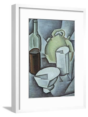 Still Life with a Bottle of Wine and an Earthenware Water Jug, 1911-Juan Gris-Framed Art Print
