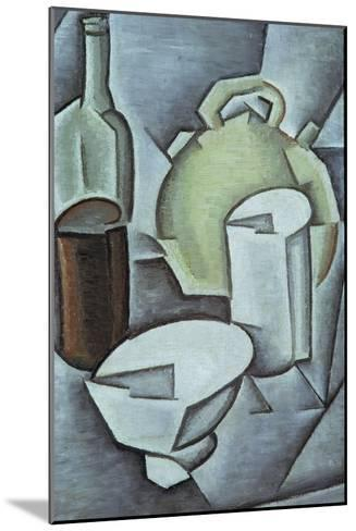 Still Life with a Bottle of Wine and an Earthenware Water Jug, 1911-Juan Gris-Mounted Giclee Print
