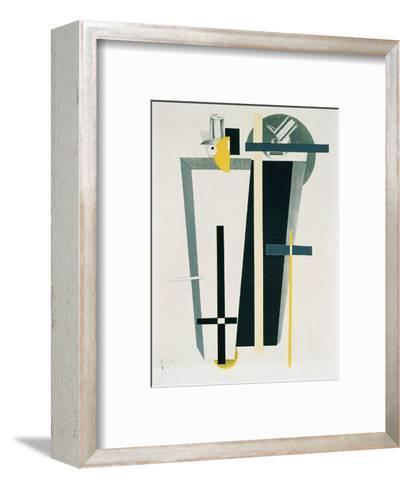 Abstract Composition in Grey, Yellow and Black-El Lissitzky-Framed Art Print