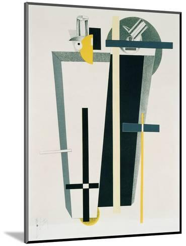 Abstract Composition in Grey, Yellow and Black-El Lissitzky-Mounted Giclee Print