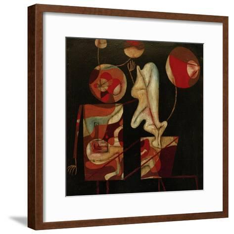 Marionetten (Bunt auf Schwarz) (Marionettes (Colour on Black)), 1930-Paul Klee-Framed Art Print