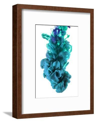 Turquoise and Blue Ink Color Drop-sanjanjam-Framed Art Print