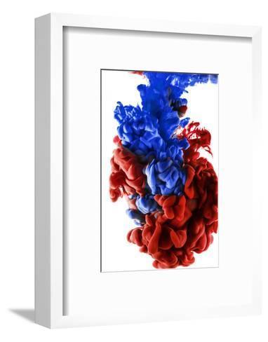 Ink Color Drop, Dark Blue and Red-sanjanjam-Framed Art Print