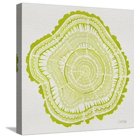 Tree Rings Lime-Cat Coquillette-Stretched Canvas Print
