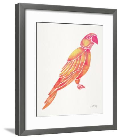 Pink Perched Parrot-Cat Coquillette-Framed Art Print