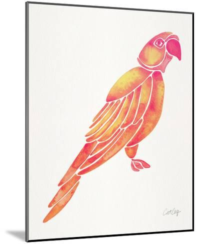 Pink Perched Parrot-Cat Coquillette-Mounted Giclee Print