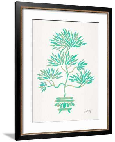 Turquoise Bonsai-Cat Coquillette-Framed Art Print