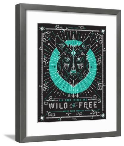 Turquoise Wolf-Cat Coquillette-Framed Art Print