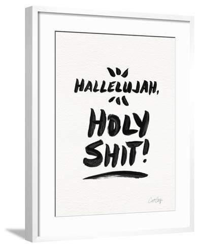 White Hallelujah Holy Shit-Cat Coquillette-Framed Art Print