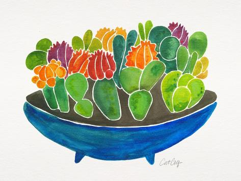 Succulents-Cat Coquillette-Stretched Canvas Print