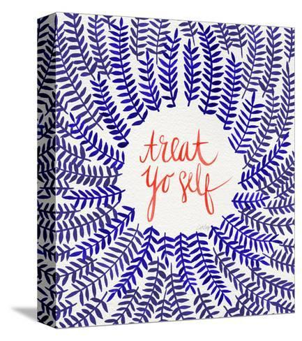 Treat Yo Self Coral Navy-Cat Coquillette-Stretched Canvas Print