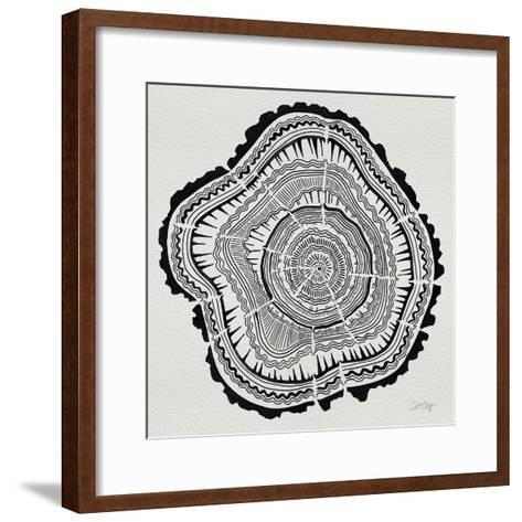 Tree Rings Black on White-Cat Coquillette-Framed Art Print