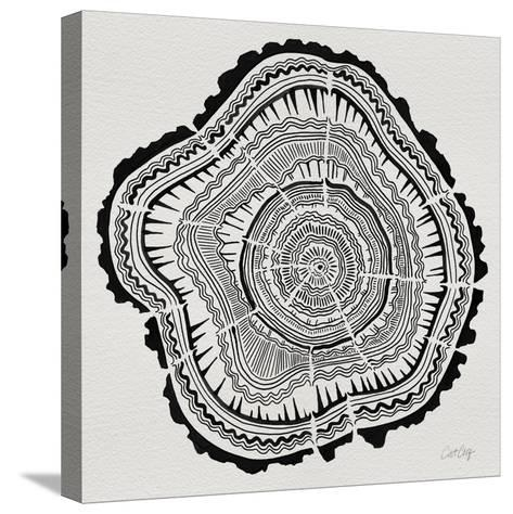 Tree Rings Black on White-Cat Coquillette-Stretched Canvas Print