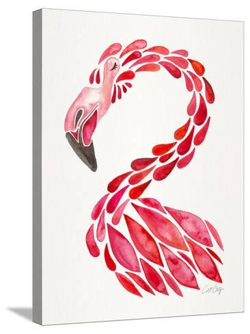 Red Flamingo-Cat Coquillette-Stretched Canvas Print