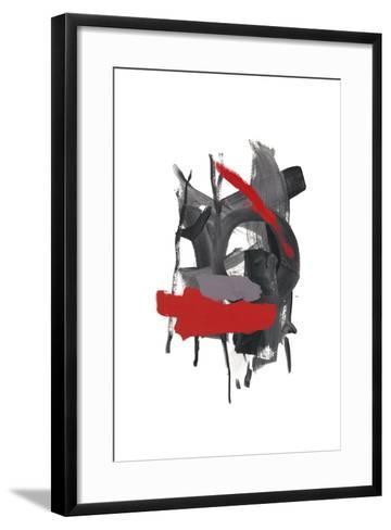 Gestural Brush, Red-Lora Gold-Framed Art Print