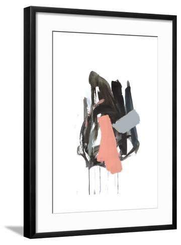 Gestural Brush, Coral-Lora Gold-Framed Art Print