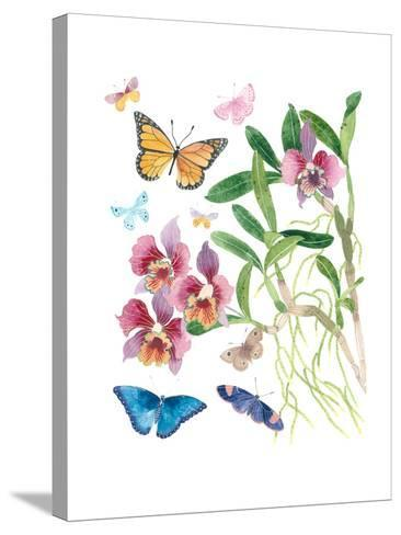 Butterflies and Orchids 1-Gabby Malpas-Stretched Canvas Print