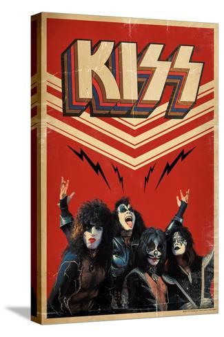 KISS - Retro Bolts--Stretched Canvas Print