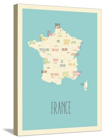 Blue France Map-Kindred Sol Collective-Stretched Canvas Print